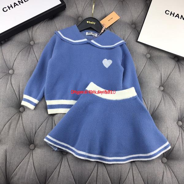 kids skirts sets Girls designer clothing doll collar sweater + knit skirt 2pcs sweet cute knit sets autumn new size 90-130cm