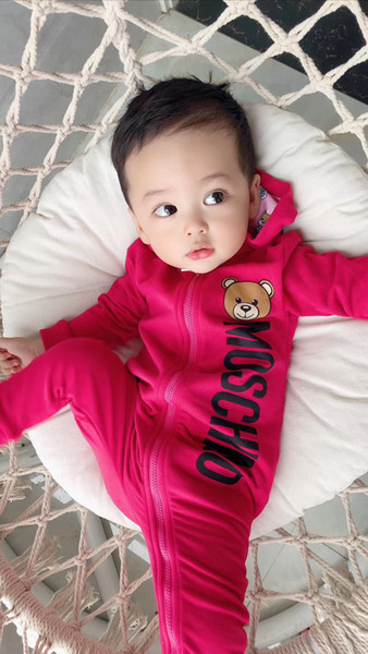 top popular New Born Baby boys girls jumpsuit Clothes Onesie Christmas Spring autumn Boy Rompers Kids Infant Jumpsuit 2 colors 2020