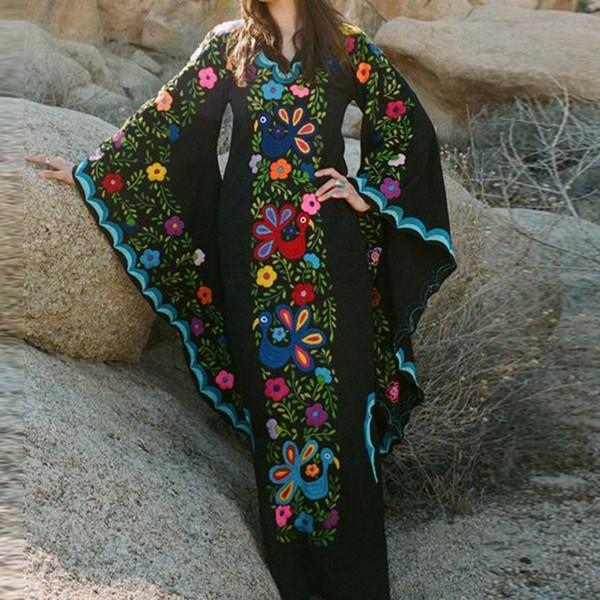 Женское летнее платье макси Vintage Wind V-образным вырезом с длинным рукавом с длинными рукавами и чешскими платьями Летнее платье 2019 vestidos