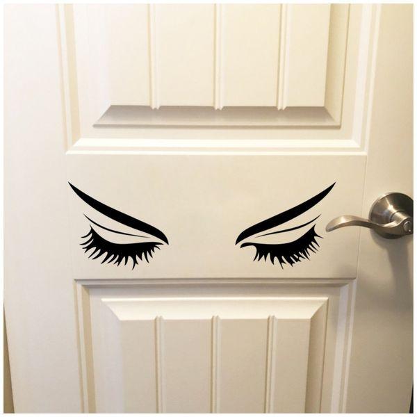 Eyelashes Bedroom Wall Sticker Beauty Salon Woman Face Lashes Eyebrows Art Decor