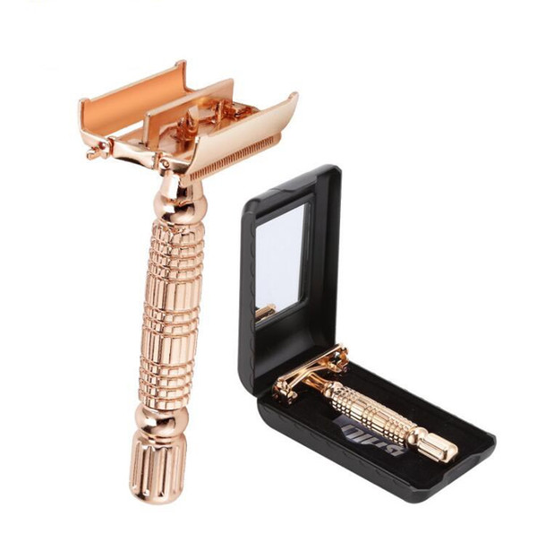 best selling Twist Butterfly Open Classic Double Edge Blade Safety Shaving Razor Shaver Handle Holder +Blade +Mirror Case