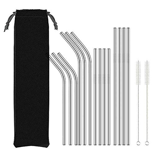 best selling 8.5 10.5inch Reusable Metal Drinking Straws 304 Stainless Steel Bent Straight Drinks Straw Bar Party Accessory