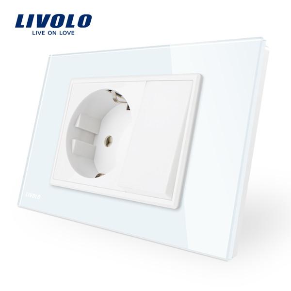 EU Socket with 1 Gang 1 Way Mechanic Switch,Livolo 16A Wall Power Socket with one push button switch