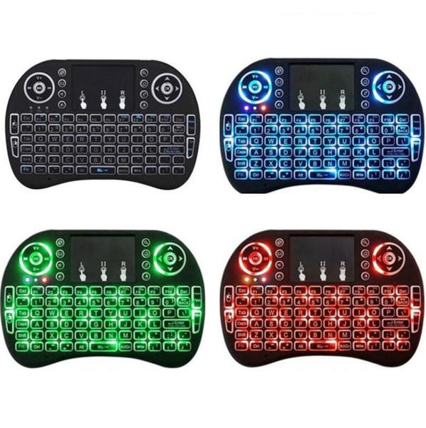 Mini rétroéclairage tricolore i8 clavier sans fil 2.4G souris air clavier télécommande tactile pavé tactile smart box Android TV