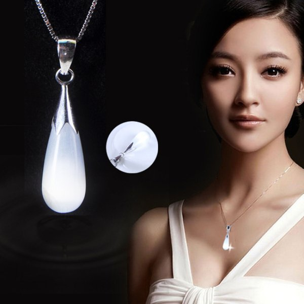 Fashion Jewelry Drop Cat-Eye Water Necklaces Pendant Natural Opal Moonstone Necklaces Pendant for Women