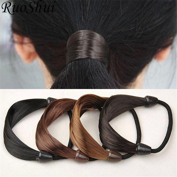 Fashion Women Straight Wig Elastic Hair Bands Black Brwon Hair Rope Scrunchie Ponytail Holder Accessories for Women Girls