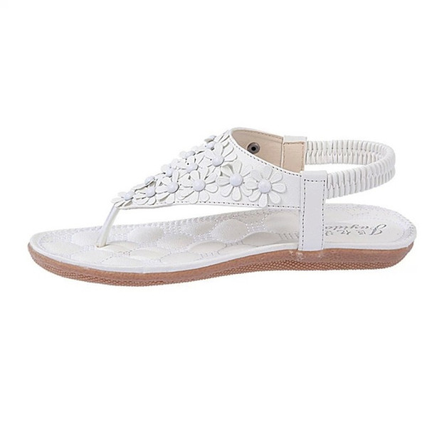 New Korean casual shoes PU leather Soft sole shoes beaded flat toe shoes.