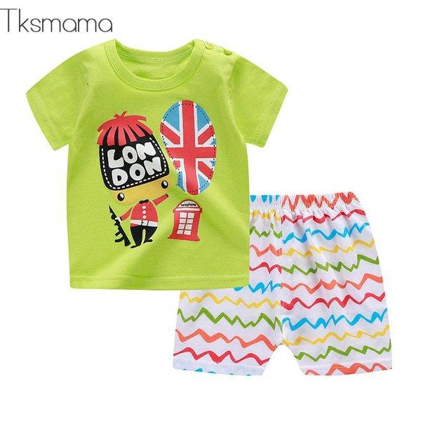 Güzel Stil Erkek Bebek Yaz Rahat Giyim Kıyafetler Bebek Kız Rahat Kısa Kollu + Şort