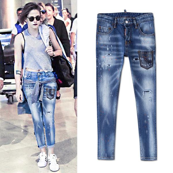 Cool Girl Sexy Jeans 2019 Cintura baja Apliques Patchwork Pierna delgada Dolor envejecido apenado Vintage mujer joven