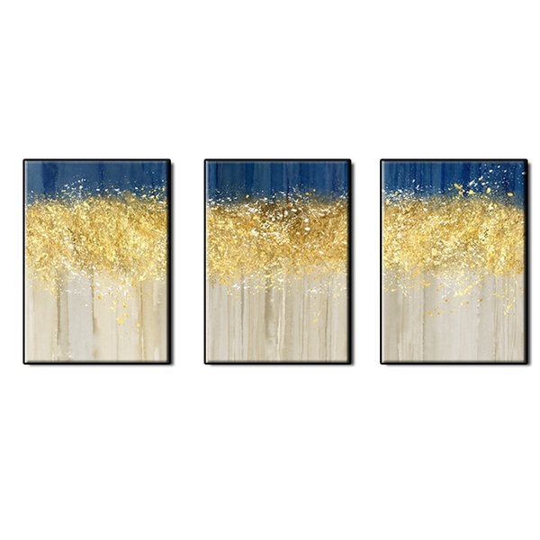 Beautiful picture abstract wall art home decor 3 pieces Hand-painted gold plating Abstract Oil Painting on canvas for living room no framed