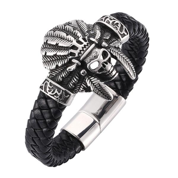 Bracciale da uomo in pelle intrecciata nera originale con teschio tribale Cinturino in acciaio inossidabile con fibbia magnetica 7-SP0275