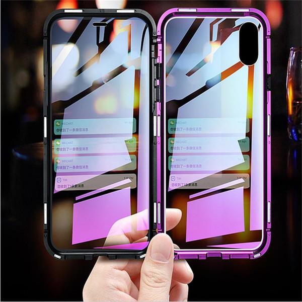 2019 Nuova custodia per telefono in metallo ad adsorbimento magnetico per iPhone Xr Xs Max con copertura completa con custodia per telefono in vetro temperato con cover posteriore in vetro temperato