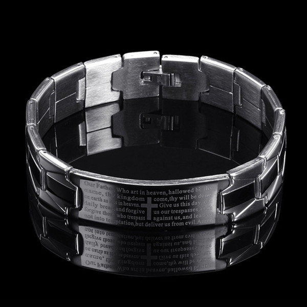 Bijoux homme cadeau bracelet exquis croix titane inox scripture