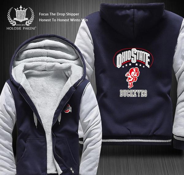 2019 Dropshipping Big Ten Team Ohio State Buckeyes Men Women Winter Thicken Fleece Coat Hooded Zipper Sweatshirt Jacket Costume Made From Wotainanle2