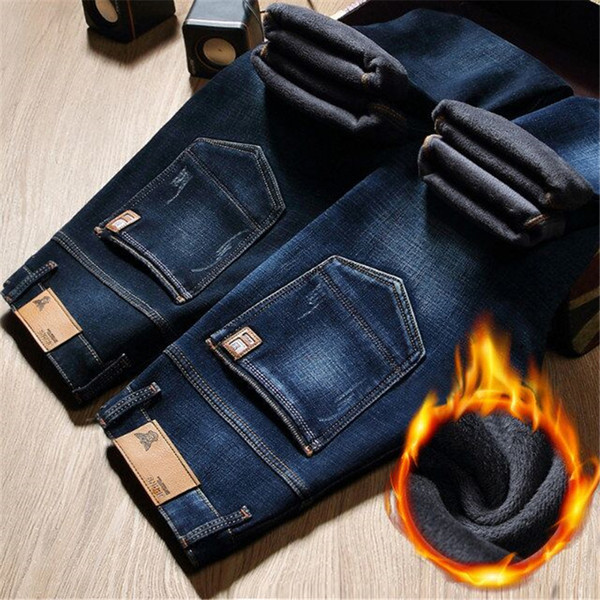 Winter Fur Warm Men Jeans Homme Pants Biker Spijkerbroek Mannen Hip Hop Jean Skinny Pantacourt Vaqueros Hombre Tight Man Zipper Y190509