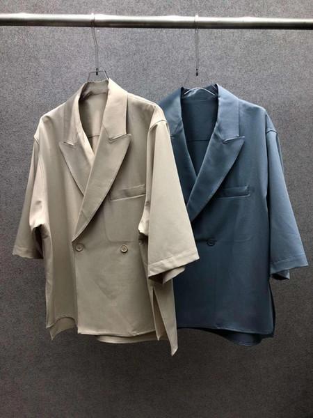 2019 новые дамы высокого качества модные рукава отворот сплошной цвет куртка 0708