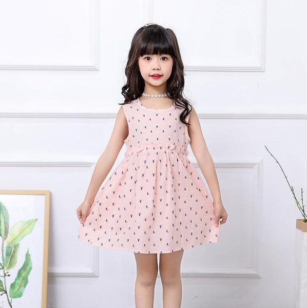 New Girls Longuette cotton Broken flowers Dress Dresses Girl Prom Dresses Summer Princess Dress best quality 4-21 lw32