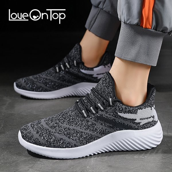 Loveontop männliche Turnschuhe stricken Ineinander greifen-Verschnaufpause-Sportschuhe für Mann-Sommer-Art- und Weisemänner schnüren sich oben beiläufige gehende Schuhe Leichtgewichtler