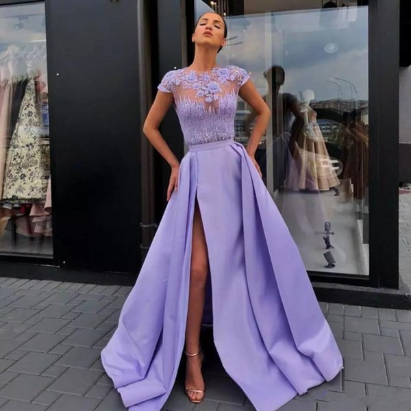 Stunning Purple Evening A-line Prom Dresses Appliques with Bead Sequin Front Side Split Celebrity Dress Satin Floor Length Cocktail Gowns