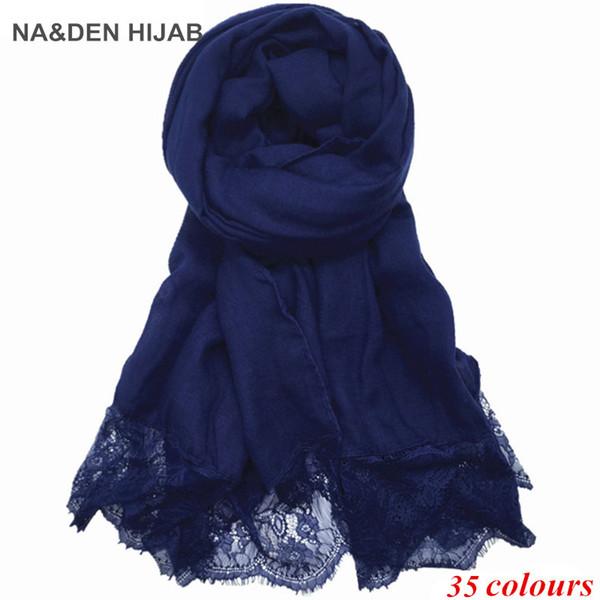 2019 Hot sale new ladies Lace edges hijabs Scarves Women Plain/solid Cotton viscose Head Scarf oversize muffler shawl 1pcs/lot