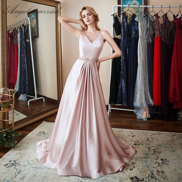 Compre ángel Casado Vestidos De Noche Sencillos Vestidos De Fiesta Largos De Color Rosa Vestido Formal Vestido De Fiesta Elegante Para Mujer Vestido