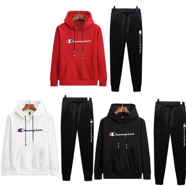 Campeão Sweatsuit Mens Outono Outfits Manga Longa Com Capuz Moletons + Calças Desenhador Duas peças define meninos Treino esportes ternos B82001