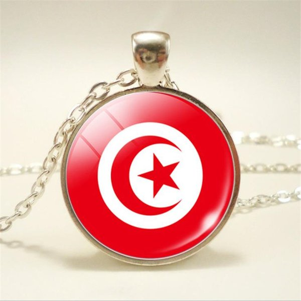 Time Gem Glass Cabochon Tunisia National Flag World Cup Football Fan Statement Choker High Quality Elegant Chain Necklace & Pendants Jewelry