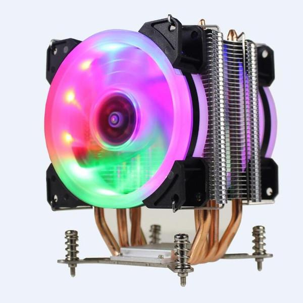 LANSHUO HOT-CPU Silent-Lüfterkühler für Intel X79 LGA2011-Prozessor 4 Heatpipes Kühlung CPU Radiator 2 Lüfter