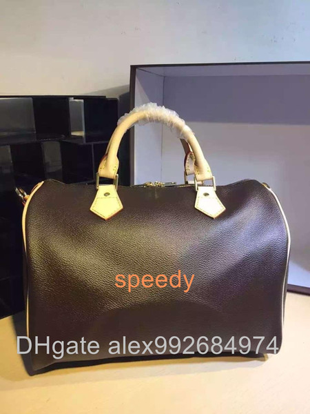 Best quality Real oxidizing leather shopping Bag speedy Damier Handbag 25 30 35 with strap lock and key Classic Printed Canvas purse
