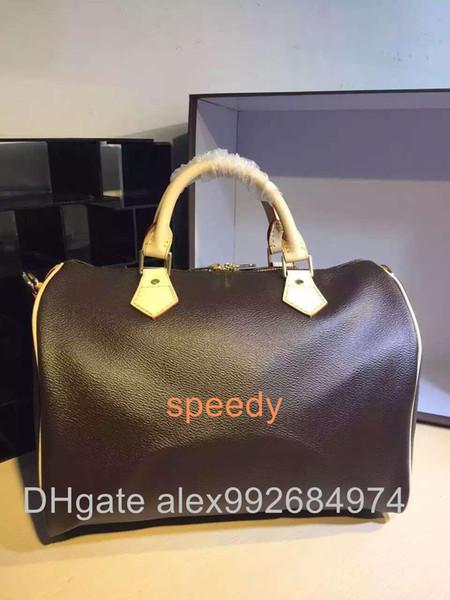 Melhor qualidade Real saco de compras de couro oxidante speedier Damier Bolsa 25 30 35 com trava de cinta e chave Clássico Bolsa de Lona Impressa