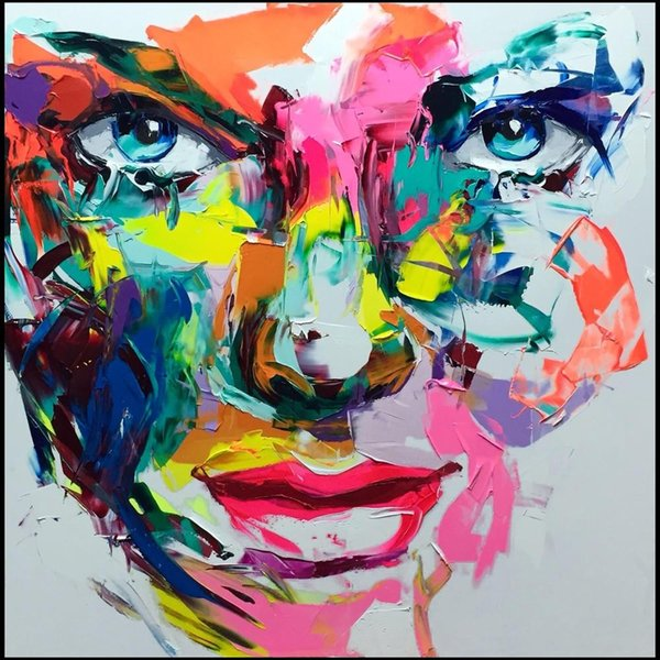 Francoise Nielly Palette Knife Impression Home Artworks Modern Portrait Handmade Oil Painting on Canvas Concave and Convex Texture Face018