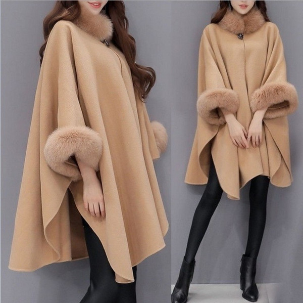 Women Capes Cloak Fox Fur Neck Design Womens Winter Clothing Outerwear Tops Loose Fashion Coats Capes Ladies Wool Blends Coats S-3XL