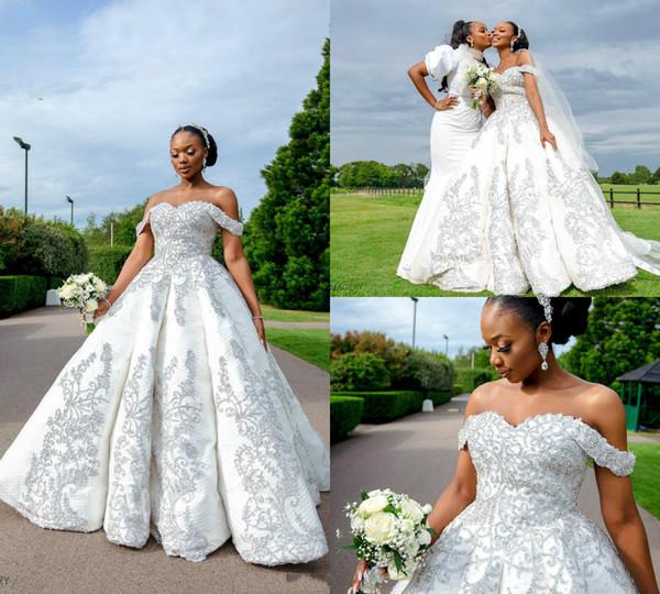 Luxury African Beaded Plus Size Wedding Dresses 2019 Sexy Crystal Appliqued Sweep Train Black Girl Wedding Gowns Ruffles Custom Made Dress