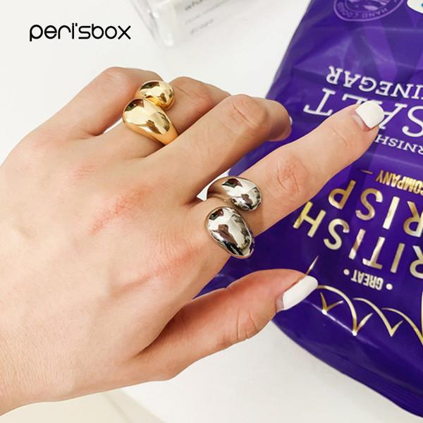 Peri'sBox Declaração de Ouro Dome Anel para As Mulheres Grande Grande Anel de Dedo Aberto Chunky Dome Jóias Largas New Hot