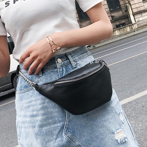 2019 Sacos de Cintura de Couro Pu Mulheres Designer de Fanny Pack Moda Cinto Saco Feminino Mini Pacote de Cintura Mensageiro Bolsa Nova Bolsa de Moeda