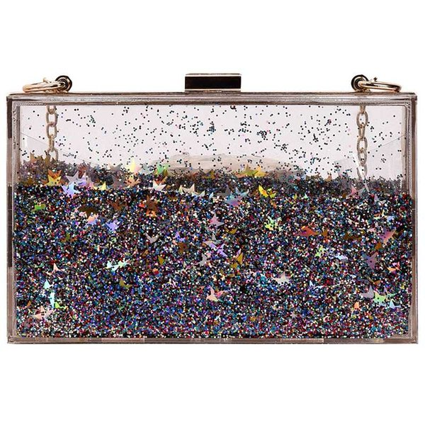 Transparent liquid small bag new fashion box bag shoulder Messenger mobile phone mini wallet