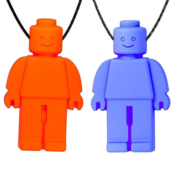 top popular Mini Robot Pendant Teething Necklace Chew Dude Sensory Toy Food Grade Silicone Baby Teethers for Kids Special Needs Chewlry 2020