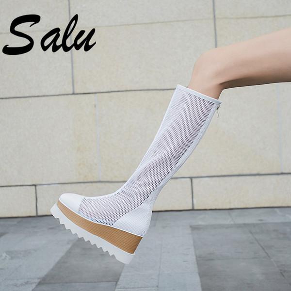 salu 2019 women summer boots genuine leather 8 cm high heel platform mesh surface breathable fashion knee high boots