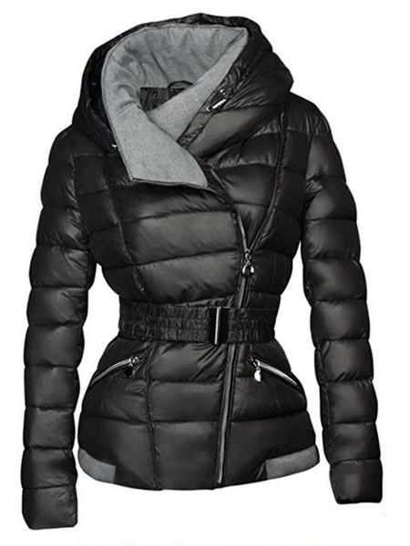 Damen-Jacken Casual Winter Gothic Cotton Mäntel Schwarz Büro-Dame dünne mit Kapuze Zipper High Street Female Plus Size Mäntel T191210 Warm