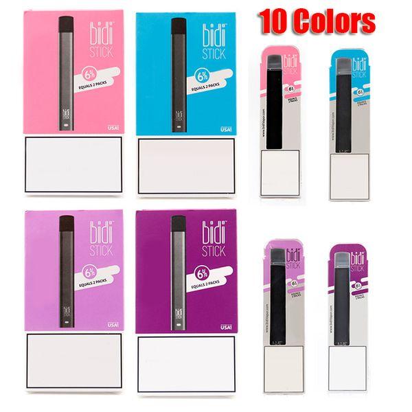 best selling BIDI Stick Disposable Device Pod Kit 280mAh Battery 1.4ml Cartridges Vape Empty Pen 10 Colors VS Puff Pop Bar Plus MR VAPOR