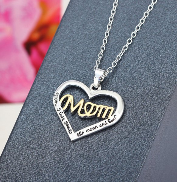 Fashion Lovely Crystal Hollow Love Heart Mom Charm Silver Chain Pendant Necklace Mother's Day