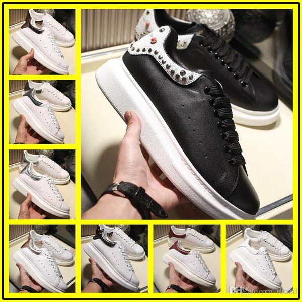 2020 Mens Womens Fashion Luxurious White Leather Breathable Comfort Casual Dress Shoes Lady Black Pink Gold Women White sneakers