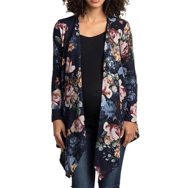 Kadın Artı Boyutu Uzun Kollu Çiçek Baskı Hırka Coat Femme Düzensiz Hem Coat