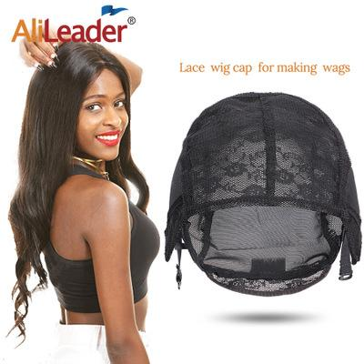 Lace Wig Caps Black Double-layered Hand Hook Lace Wig Cap Professional Weaving And Soft Mesh Caps