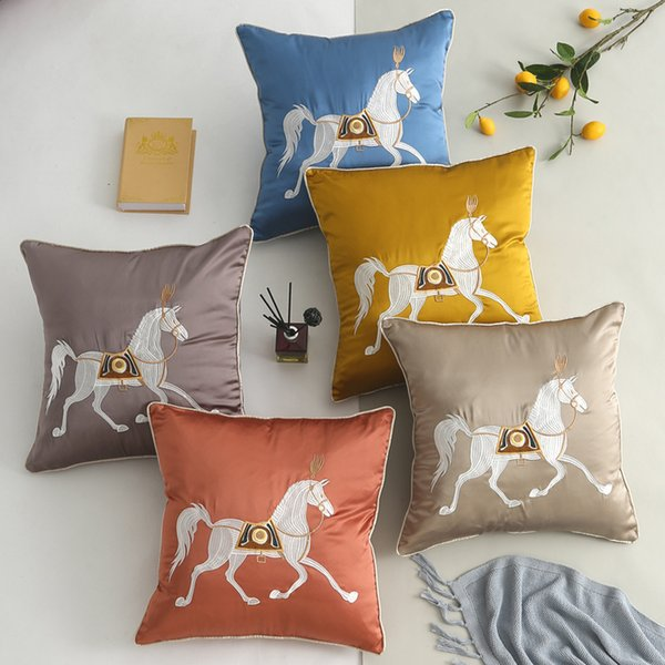 Horse Embroidery Cushion Cover Chinese Style High Precision Satin Sofa Cushion Covers Villa Mahogany Furniture Embroidery Pillow Cover