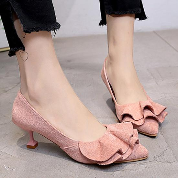 Designer Dress Shoes Women Pumps Ladies High Heels Kitten Heel Faux Suede Ruffle Pointed Fashion Wedding Chaussure Femme Ladies Shoe