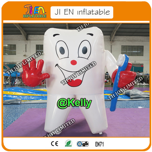 free air shipping air tight inflatable teeth cartoons for sale, customized inflatable teeth model with toothbrush