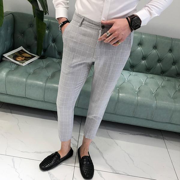 Men Suit Pants Slim Fit Plaid Men Pants Summer Thin Fashion Calf-length Trousers Male Office Black 2019 England Style