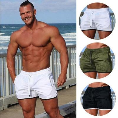 New Summer Mens Tinta unita Swimwear Sport Cotton Vita alta Beach Shorts per uomo Sexy Swim Trunks Color Block Short Homme Bianco Nero