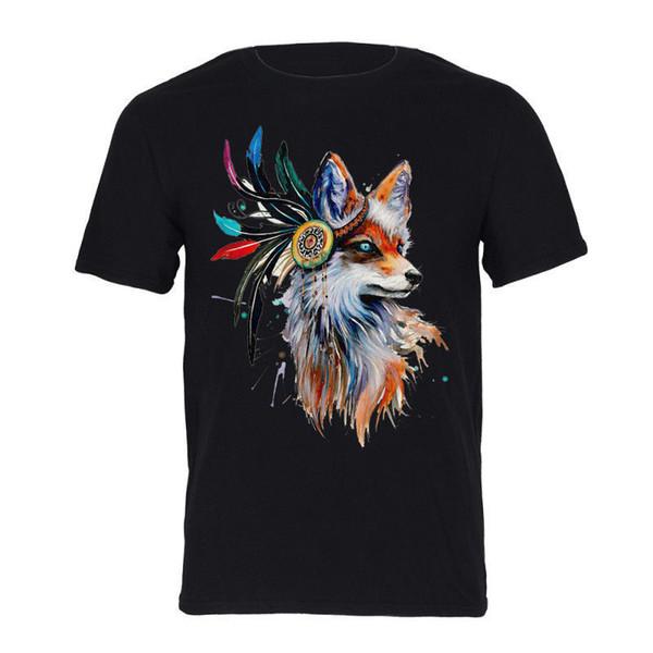 Mens Cotton T-Shirt Indian Folk Style Fox Pattern Comfort Graphic T-Shirt Tops Men Women Unisex Fashion tshirt Free Shipping